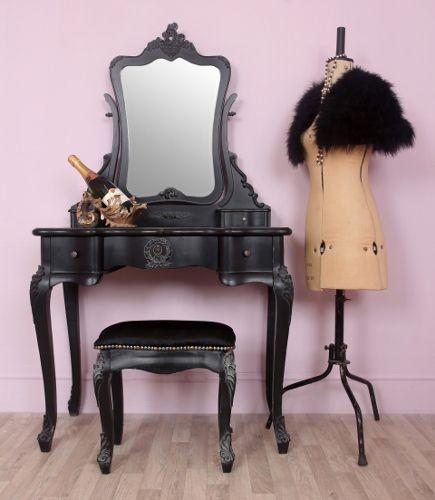 Cau French Style Black Boudoir Dressing Table Mirror Stool Dress 2 1045 P Jpg