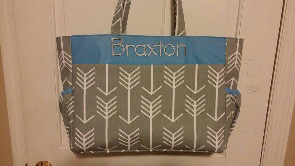 Personalized Diaper Bag with zipper - $45