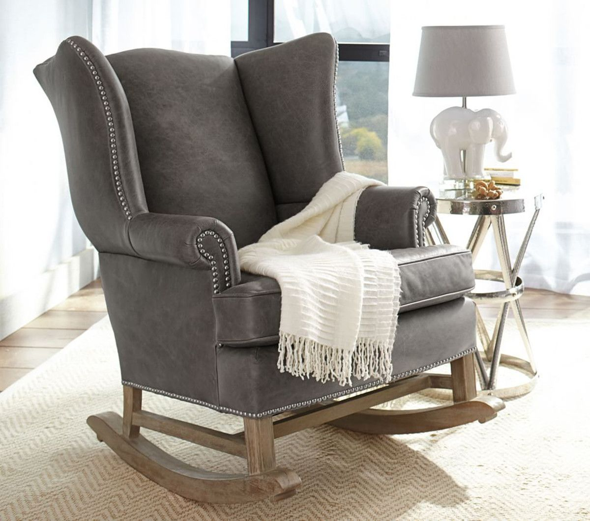 Thatcher Leather Rocker & Ottoman Rocking chair nursery