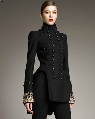 high neck double breasted military jacket from sarah burton s alexander mcqueen coats. Black Bedroom Furniture Sets. Home Design Ideas