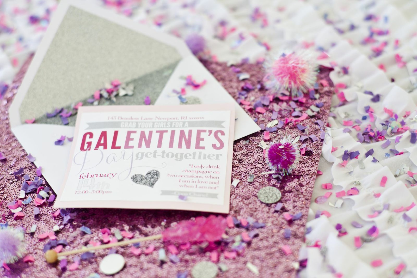 Invitation for a galentines day party with the girls pom poms invitation for a galentines day party with the girls pom poms graphic stopboris Choice Image