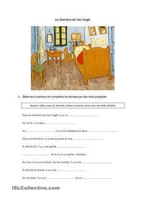 La chambre de Van Gogh Français French education, French - Description De La Chambre De Van Gogh