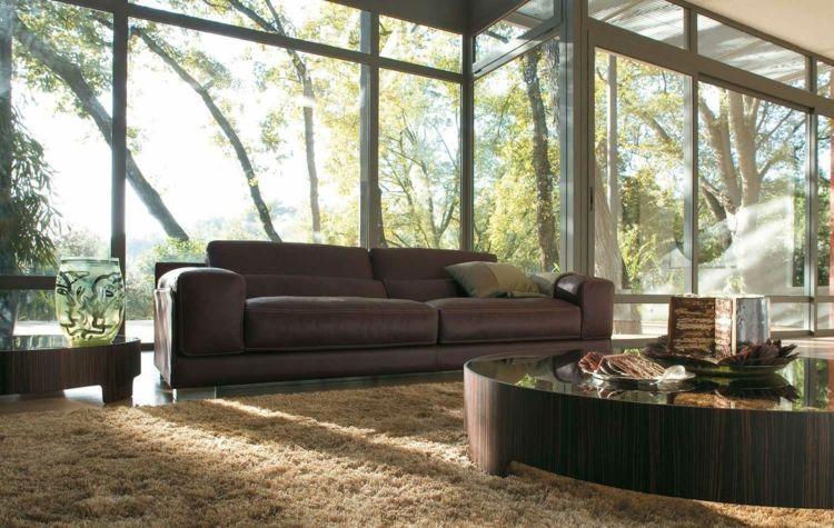 wohnzimmer ideen mit brauner couch teppich-hochflor-fensterfront
