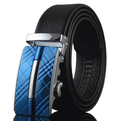 Fashionable Tartan Shape and Bar Embellished Alloy Buckle Belt For Men