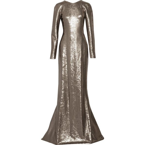 KAUFMANFRANCO - Sequined Silk-satin Gown (5.325 BRL) ❤ liked on Polyvore featuring dresses, gowns, platinum, sequin dress, draped gown, sequin ball gown, cutout dresses and embellished dress
