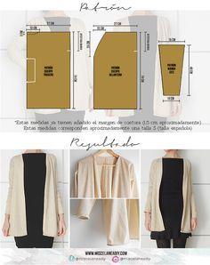 db0ec4e746d4 Patrón para hacer esta chaqueta, ¡muy fácil!   sewing   Patrones de ...