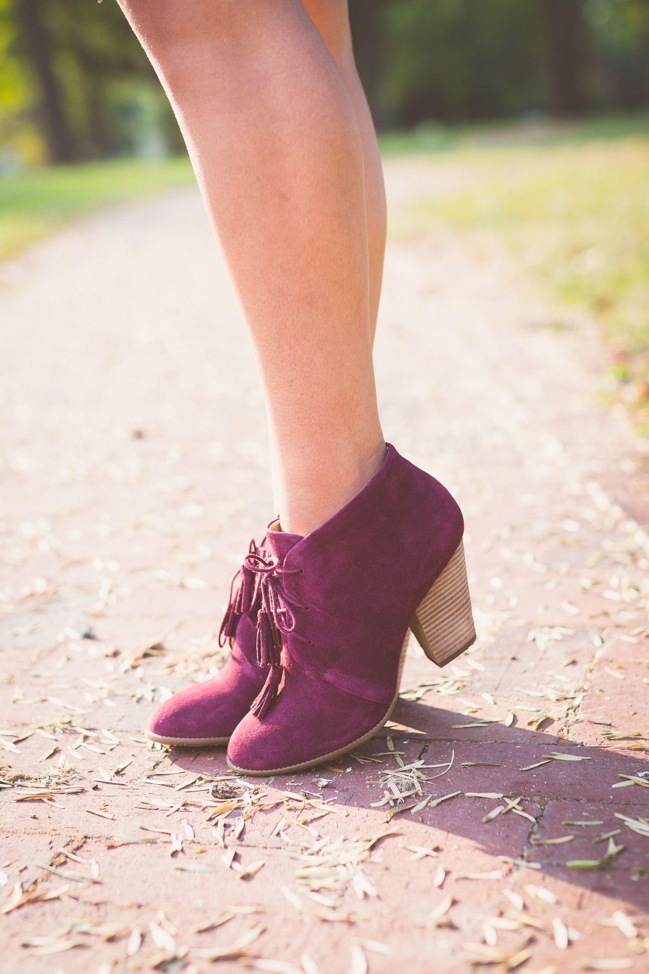 suede tassel booties in dark eggplant Shoes