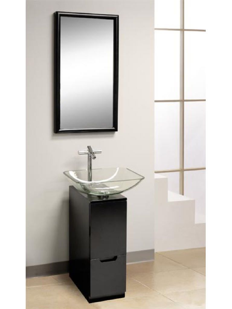 Bathroom Modern Bathroom Design With Small Vanity And Glass Vessel Sink Also Stainless Faucet Comb Modern Bathroom Vanity Modern Vanity Small Bathroom Vanities