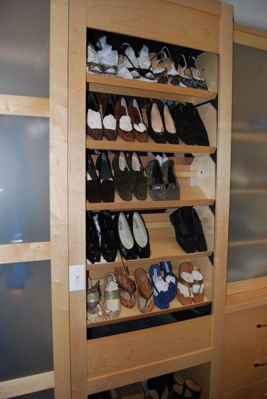 Motor Driven Shoe Storage With Automatic Shelves Storagemotion Shoe Storage Shoe Rack Closet Shelves