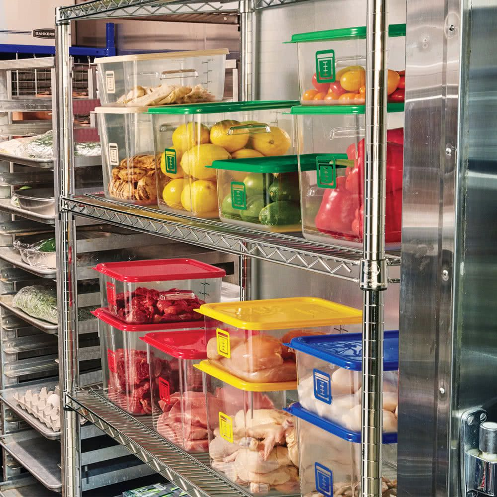 Rubbermaid 1980248 Color Coded Clear 4 Qt Square Food Storage
