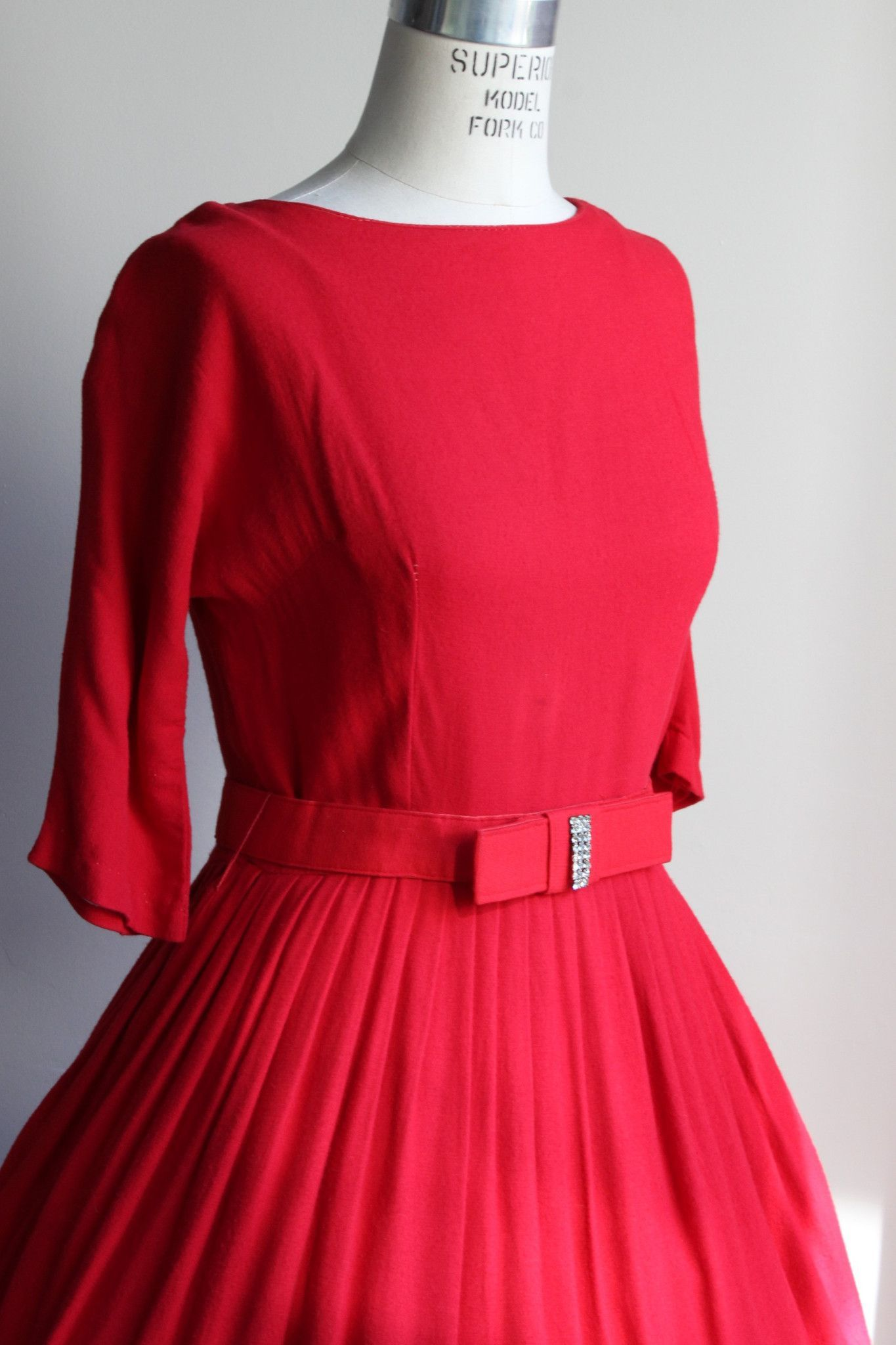 Vintage 1950s Red Wool Party Dress with Rhinestone Belt