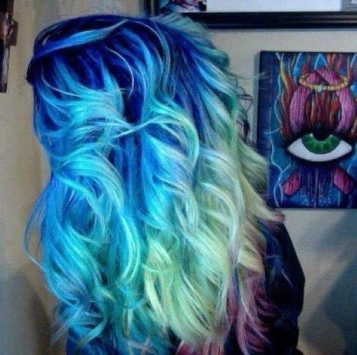 ombre hair blue to  green