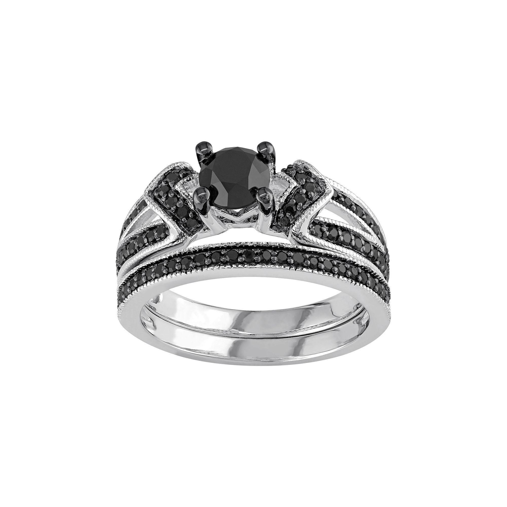1 Carat Black Diamond Ring Set In Sterling Silver