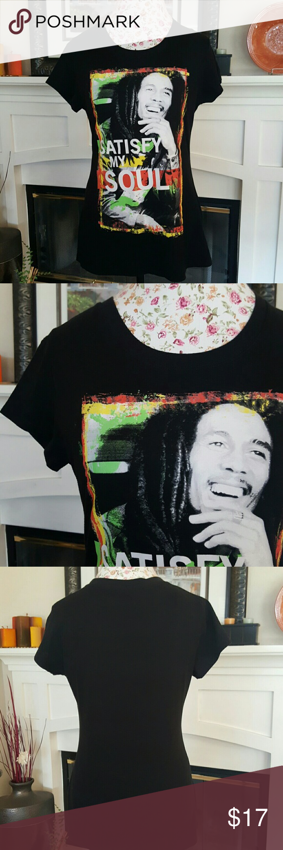 New Listing! Bob Marley T-Shirt Perfect for any Bob fan! Only used a few times. Wear with a boho flowy skirt or jean pants or shorts! Tag says XL but fits mire like a Medium. Open to offers. Tops