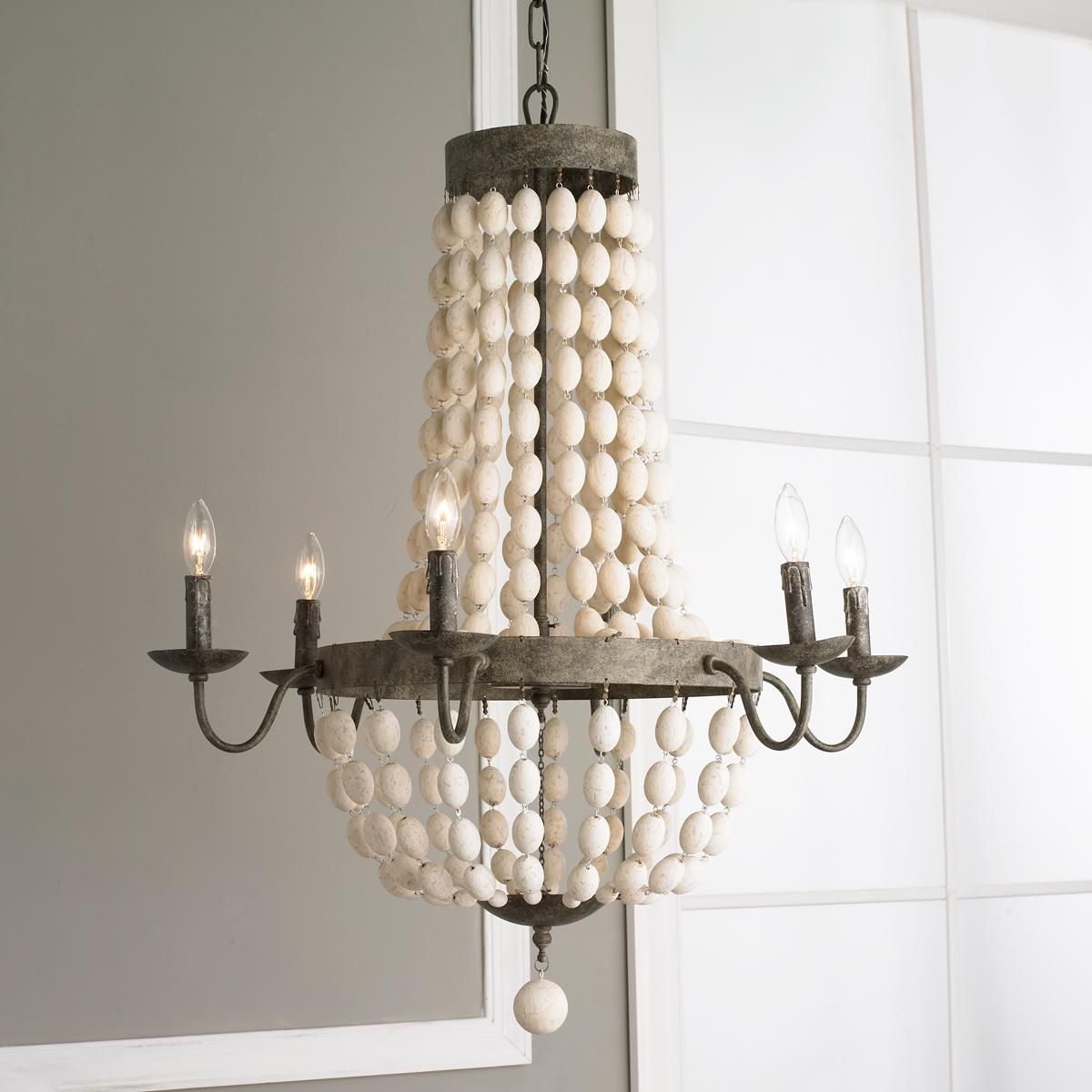 White wood beads and iron basket chandelier white wood white wood beads and iron basket chandelier arubaitofo Images