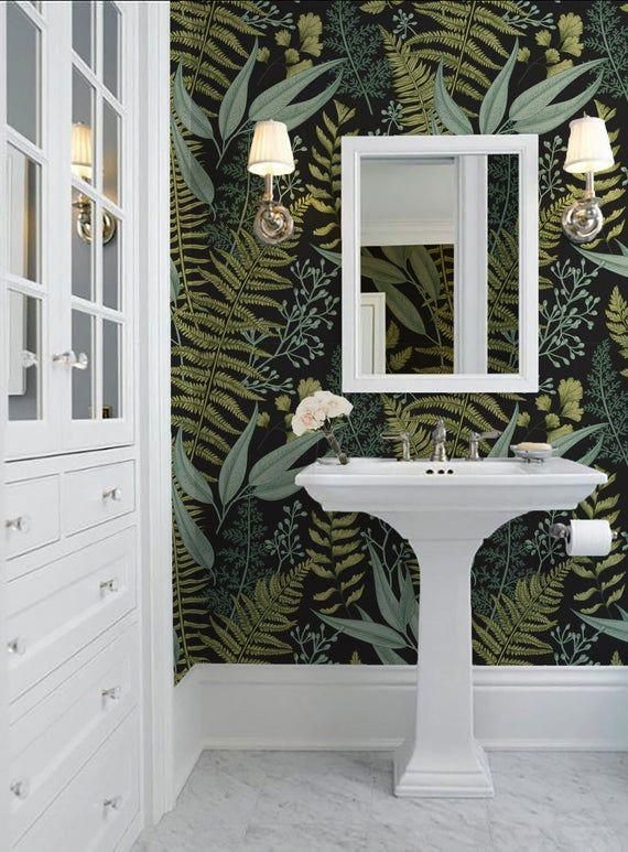 Pattern Name Merritt Botanical Ebony Mbf01 24 Wide X Height Of Your Choice Your Choice Of Thick Fern Wallpaper Bathroom Wallpaper Wall Decor Decals
