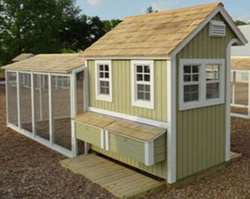 Walk In Chicken House tall elizabeth house shown in sample colors, front and rear decks
