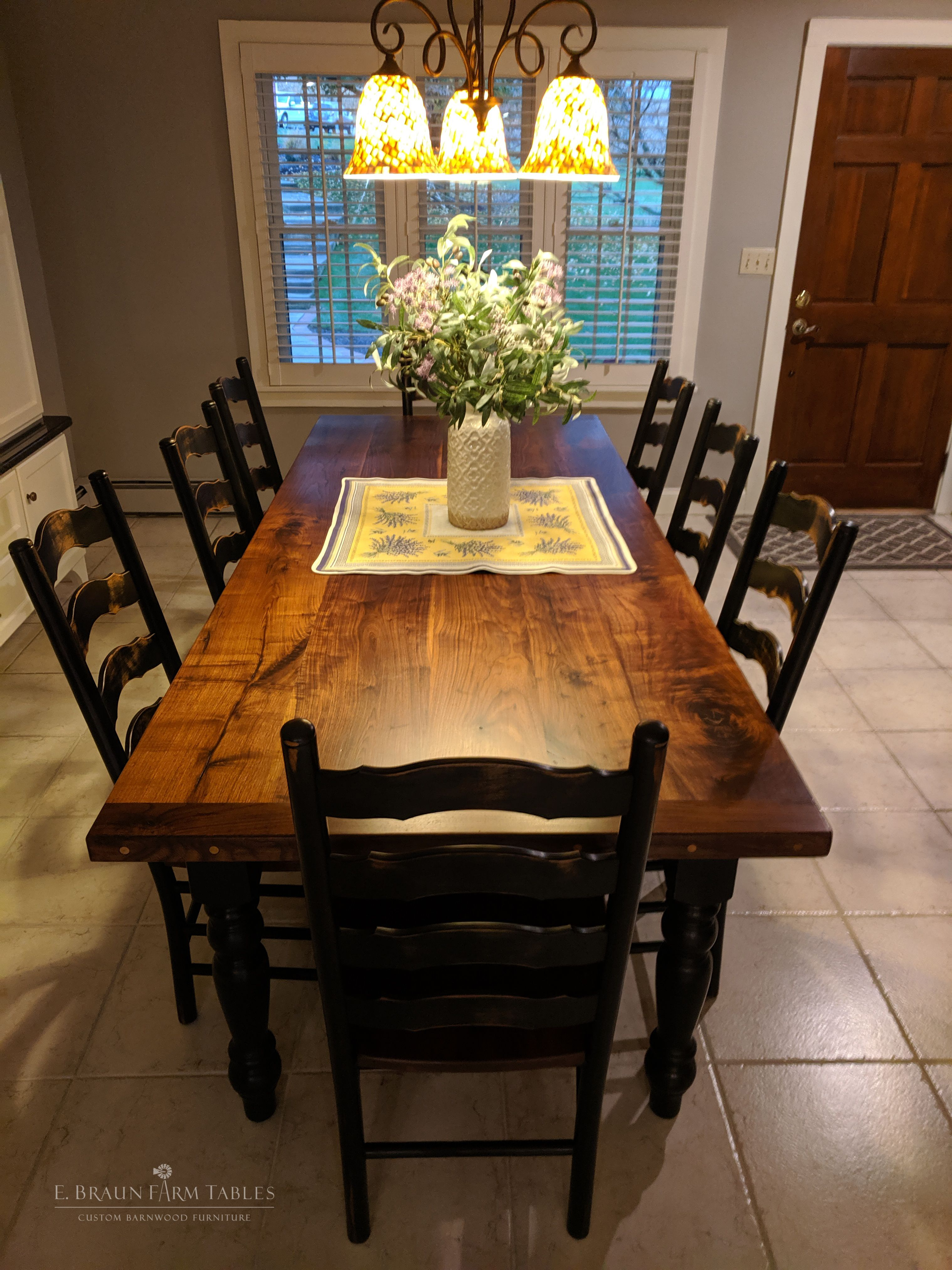 Black Walnut Farmhouse Table French Country Chairs Kitchen Table Wood Barnwood Dining Table Wood Dining Room