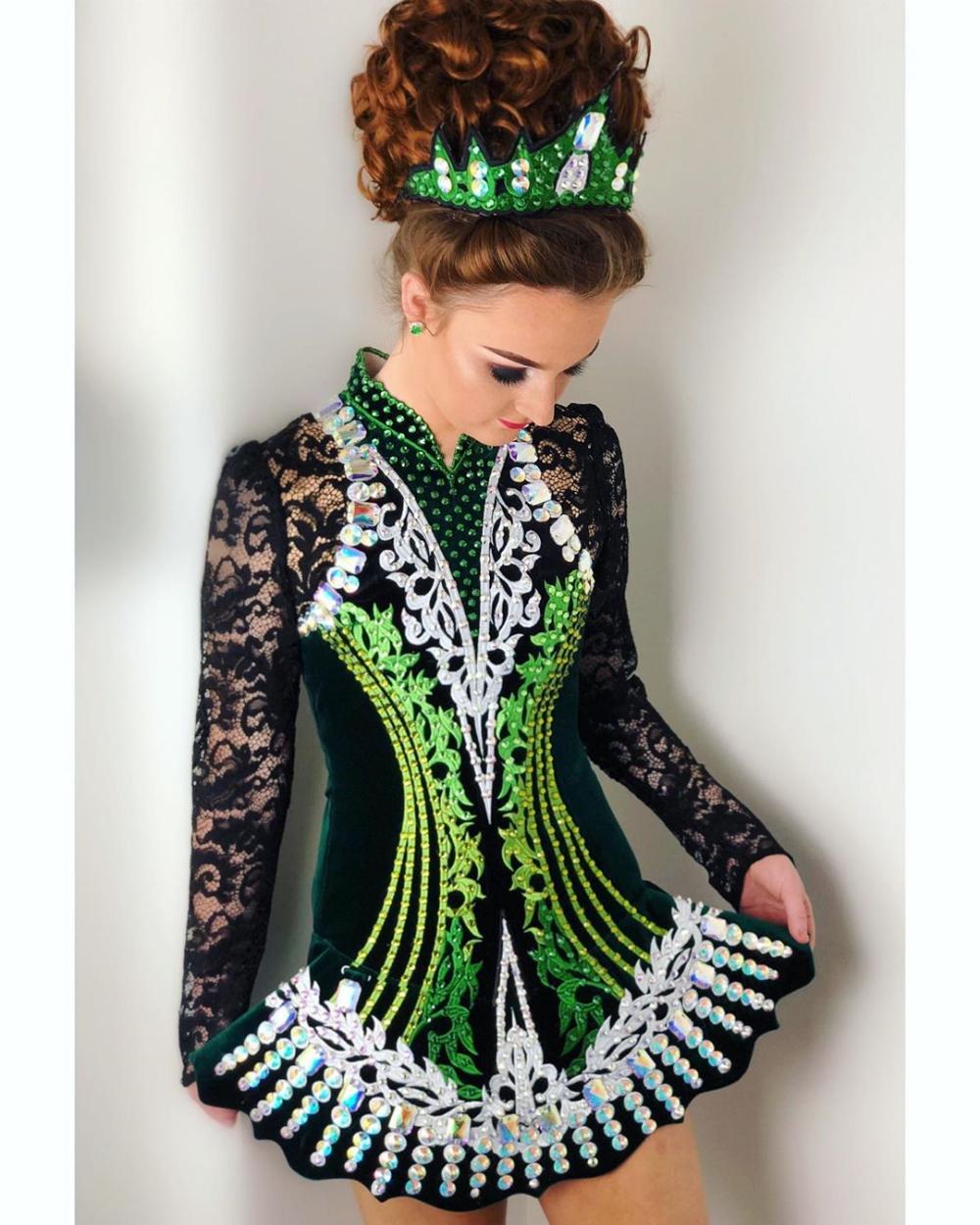 Emma Elitedancedesigns 2019 Embroidery Crystals Costume Irishdance Ir Irish Dance Dress Designs Irish Dance Solo Dress Irish Dance Costume