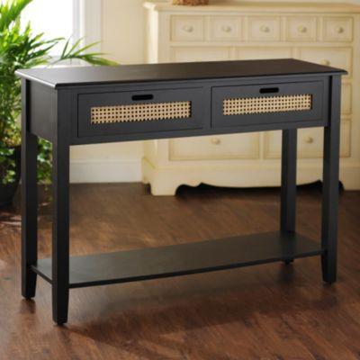 Black Cane Storage Console Table Console Table Foyer Decor