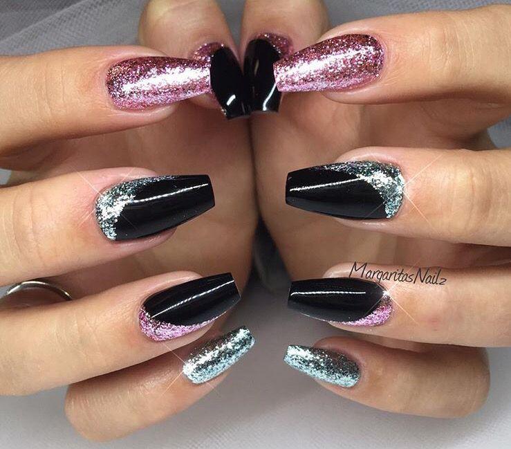 Full Black Nails Glitter Pink Blue Odd Nails Design Gel Nails Purple Glitter Nails