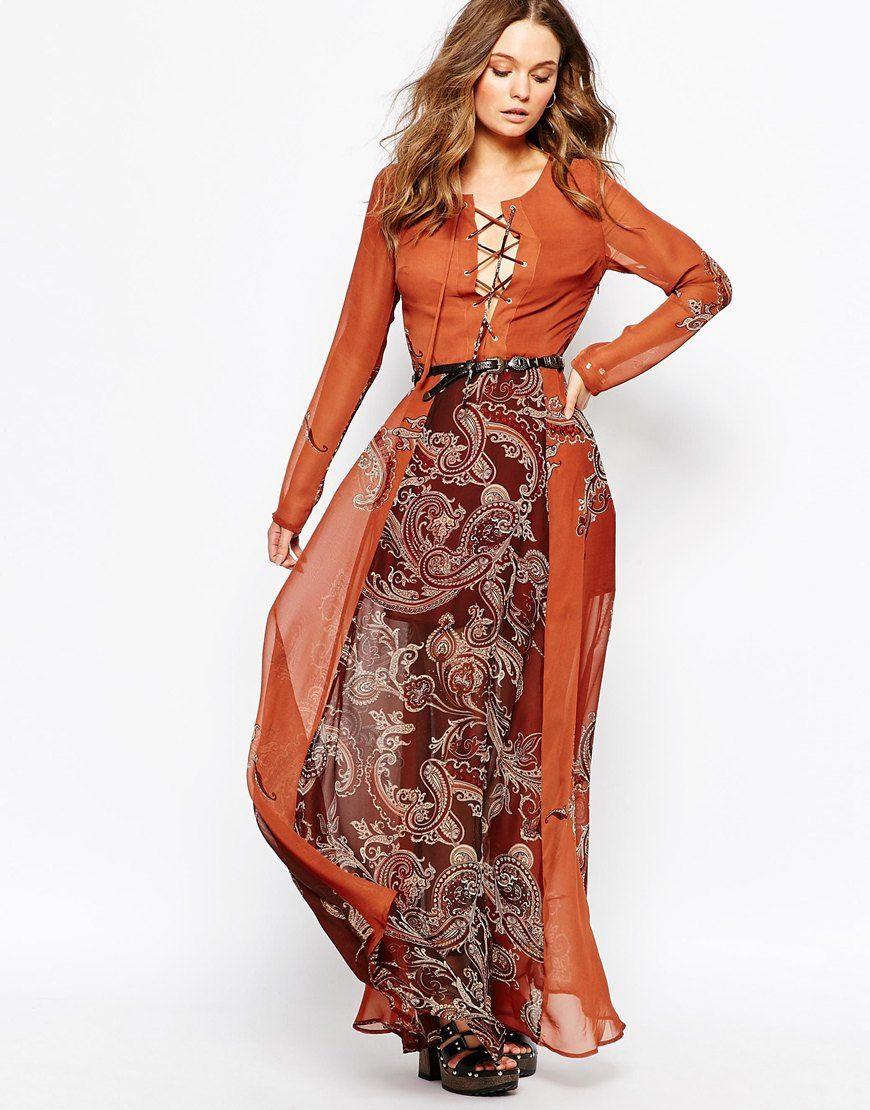Vestito lungo con stampa e laccetti
