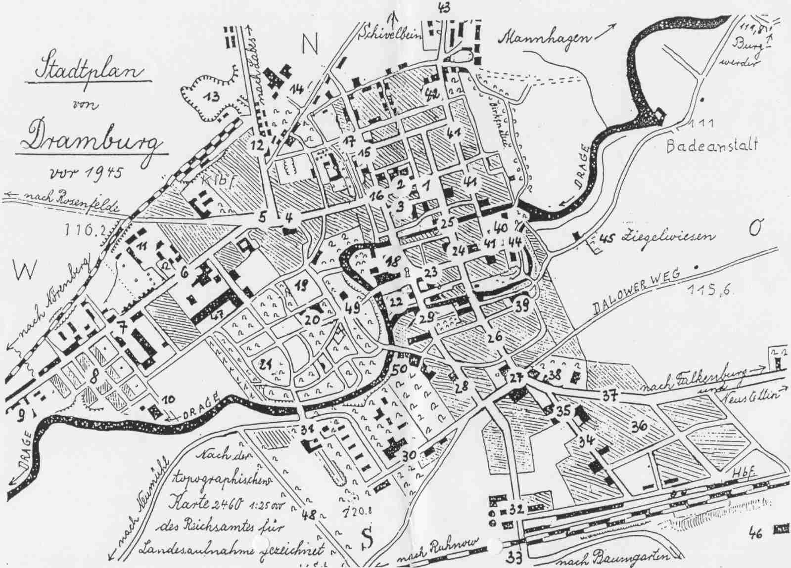 Pommern Karte Vor 1945.Stadtplan Von Dramburg Vor 1945 Pommern Landkarten Und Stadtpläne