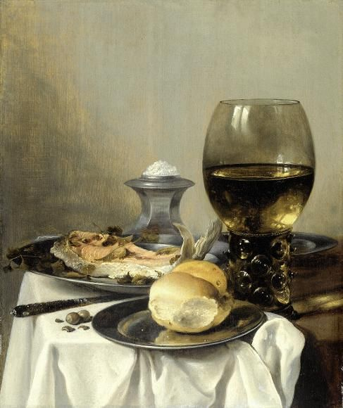 stillife whith bread and fish - pieter claesz 1645