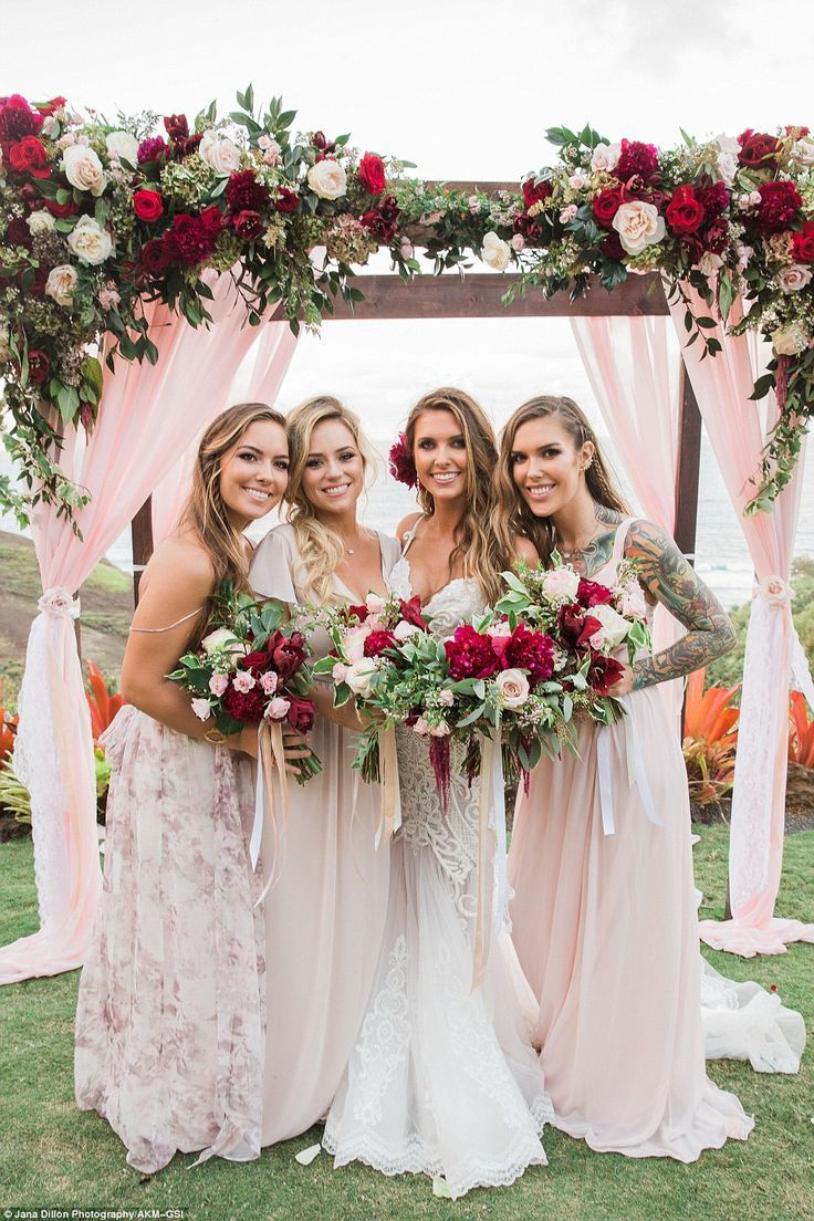 Audrina patridge weds corey bohan in hawaii white lace gown her bridesmaids the bride with her two sisters samantha and casey as well as a ombrellifo Image collections