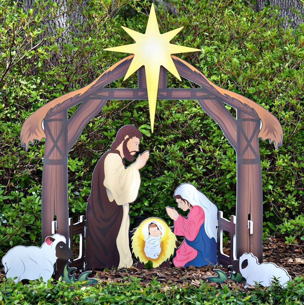 Holy Night Printed Outdoor Nativity Set Outdoor Nativity Outdoor Nativity Scene Outdoor Nativity Sets