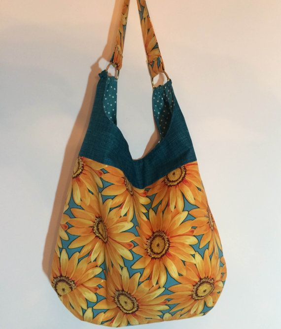 Slouch bag, sunflower bag, hobo bag, fabric hobo bag, hobo slouch ...