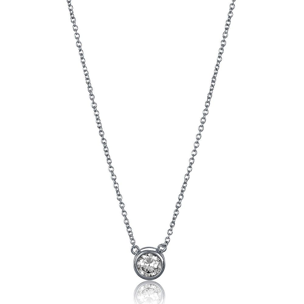 Sterling silver round cz solitaire pendant ctw silver rounds