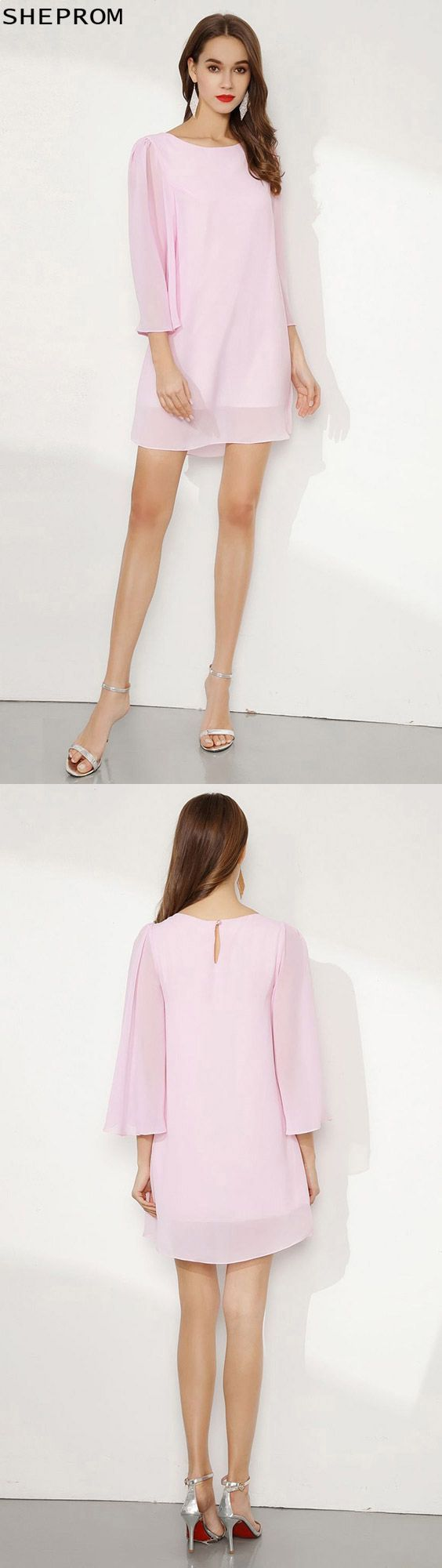 Simple chiffon blushing pink short prom dress with dolman sleeves