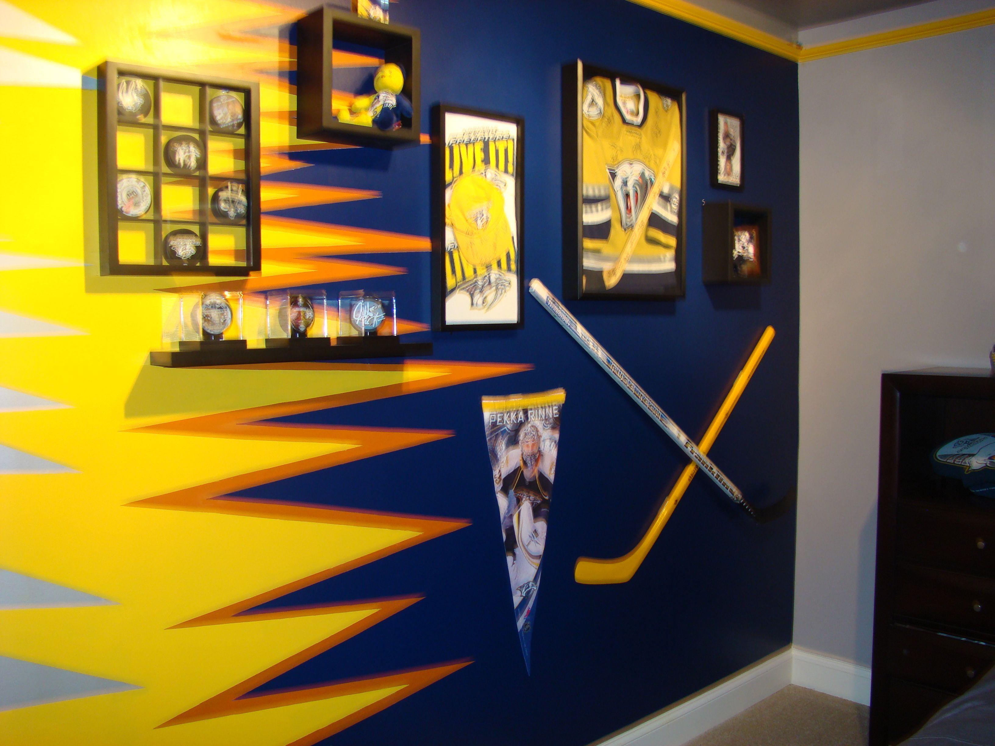 Hockey Memorabilia Wall In Kid S Room I Like The Puck Display Case Hockey Room Big Kid Bedroom Hockey Bedroom