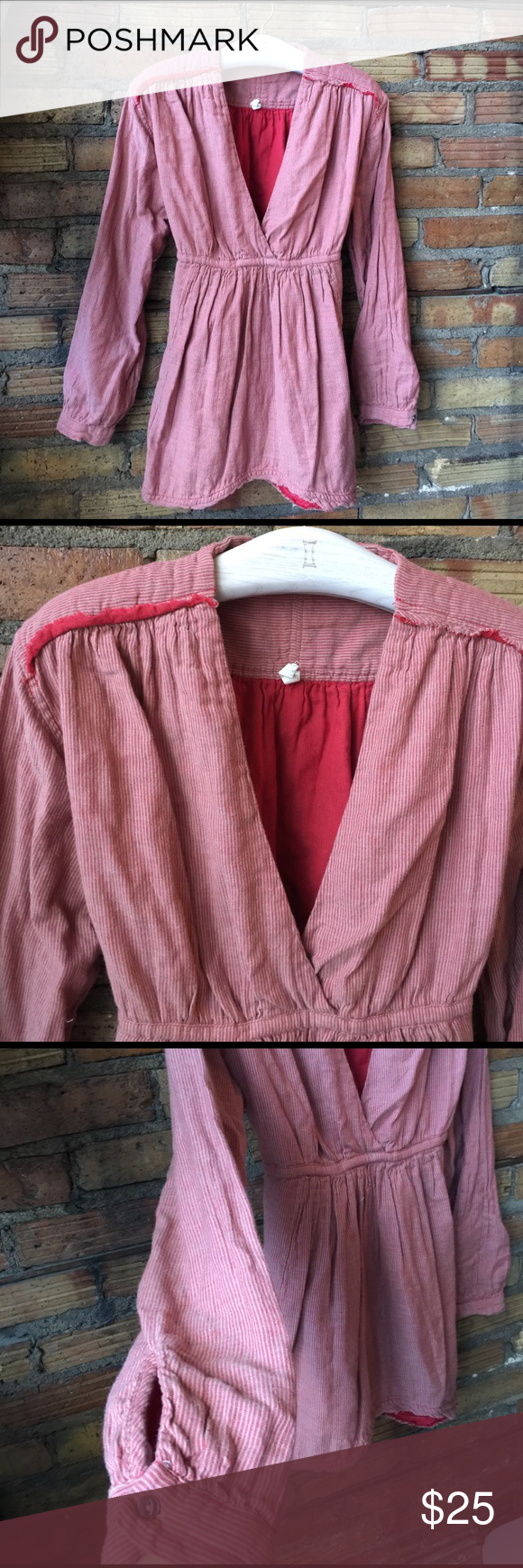 Free people deep v raw edge peasant top In good used condition . It's definitely been through the dryer a lot, the raw edges and turned up a little bit. It's sort of a striped salmon color. Free People Tops Blouses