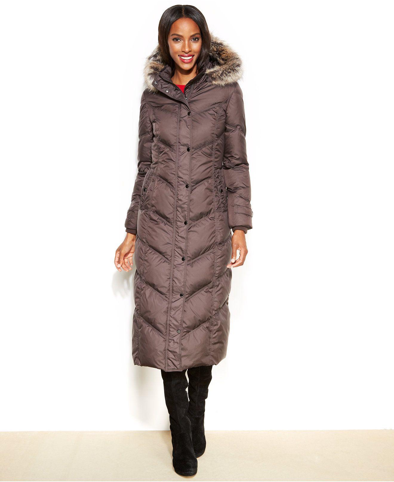 2457647e4 London Fog Hooded Faux-Fur-Trim Down Maxi Puffer Coat - Coats ...