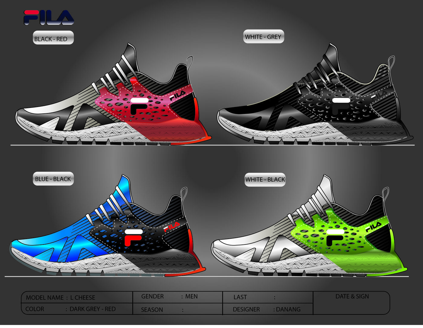 The running shoes combine comfortand