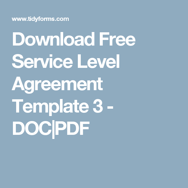 Download Free Service Level Agreement Template   DocPdf