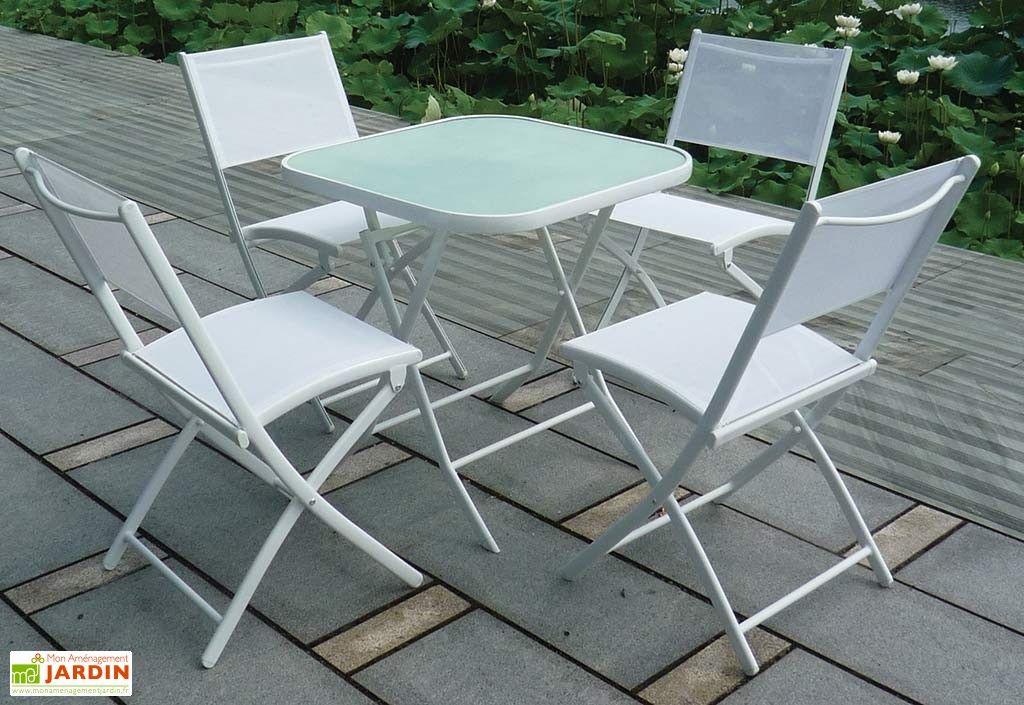 Salon de Jardin pour Terrasse en Acier   1 Table + 4 Chaises Blanc ... 0c782fe295c5