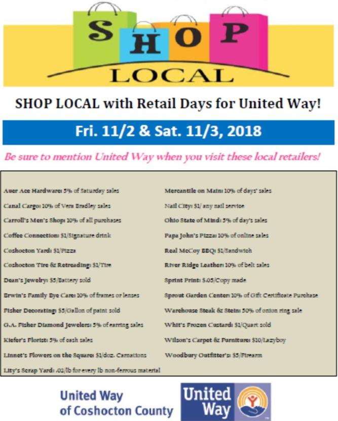 #woodburyoutfitters #Coshocton #shoplocal #unitedway #