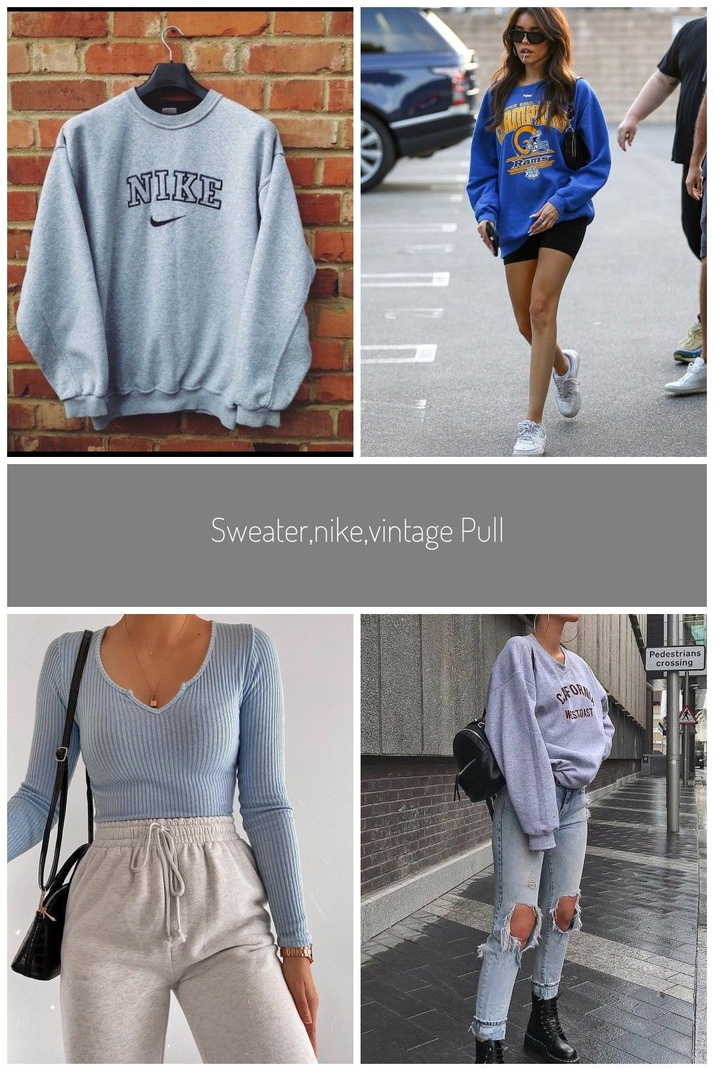 Sweater Nike Vintage Pullover Oversized Sweater Sweat Shirt Winter Outfits Fall Outfits Vintage 90s Style Grey Sweat S In 2020 Nike Sweater Fall Outfits Winter Outfits