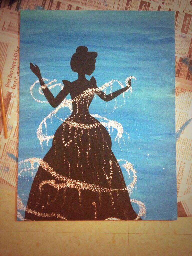 Redid a painting of this that I saw Cinderella DIY College Disney ...