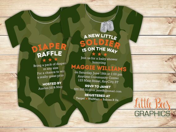 10 Camouflage Baby Shower Invitations Army Solr Invitation Onesie Cut Shaped Single Or Double Sided