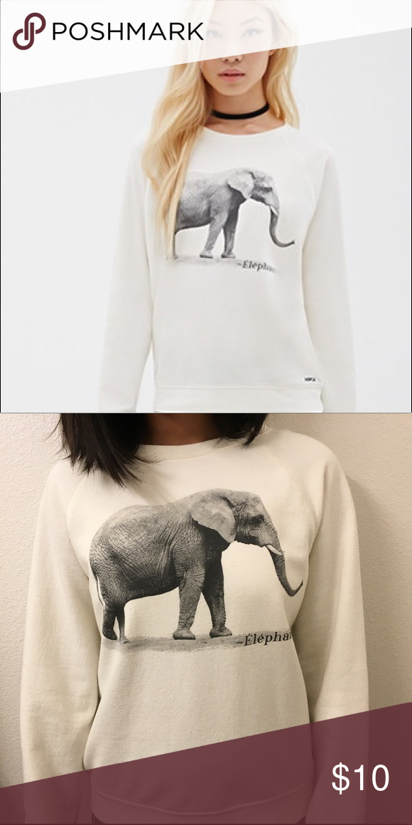 351ebee47b5e53 ASPCA Elephant Sweatshirt Soft white elephant sweatshirt. Off white Forever  21 Sweaters Crew   Scoop Necks