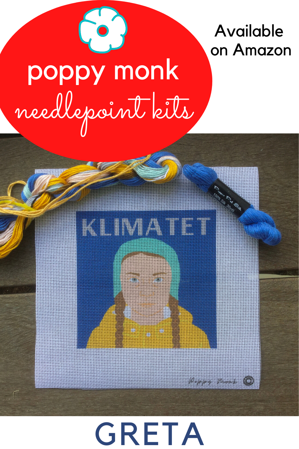 Klimatet needlepoint kit for adults Contemporary needlework tapestry craft project with strong female climate activist in leading role 5x5 design color printed on 18 mesh mono canvas silk threads