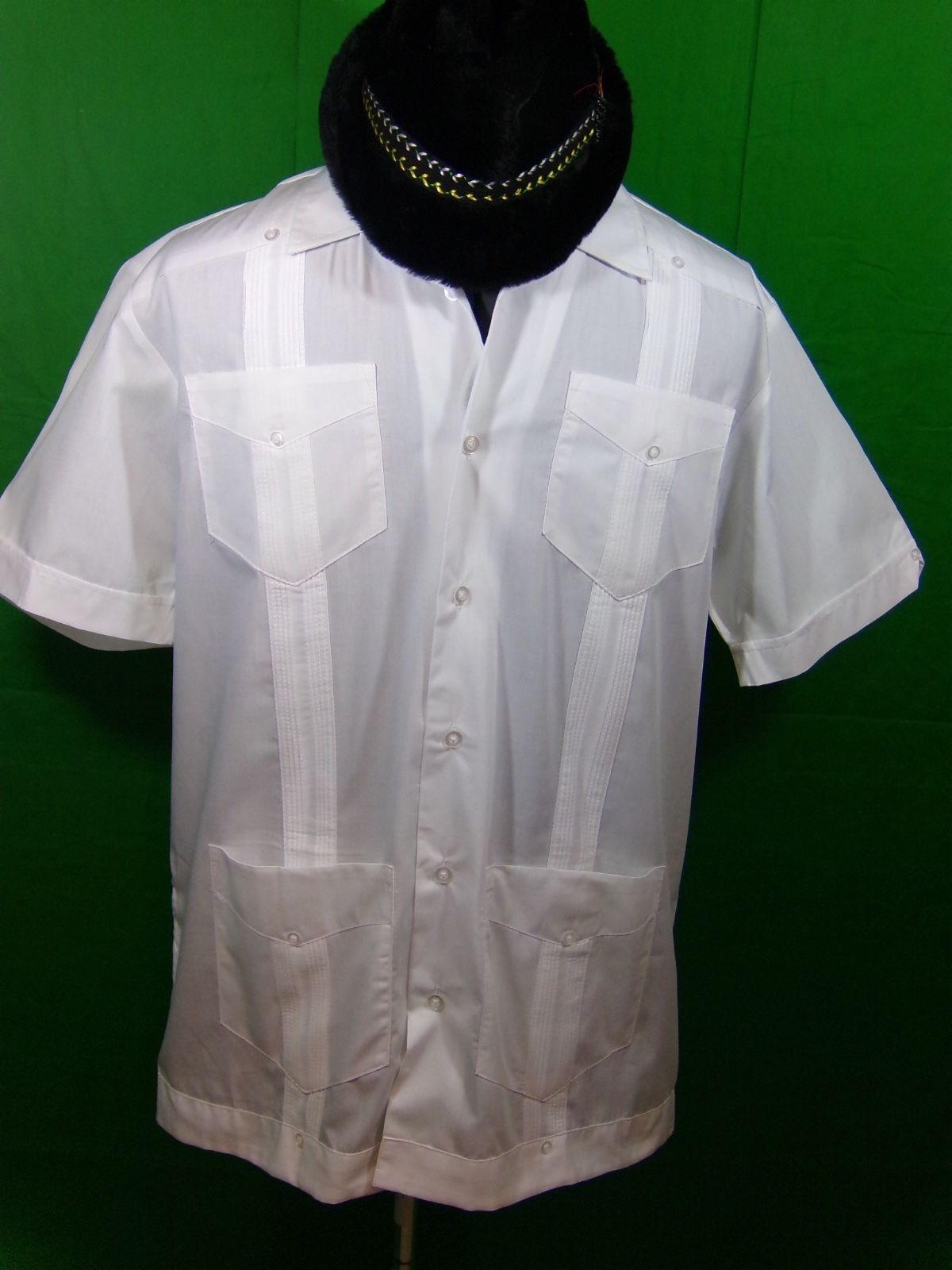 1bf59fff Men's Cafe Luna White Cuban Havana Summer 4 Pocket Short Sleeve Shirt Size  Med | eBay