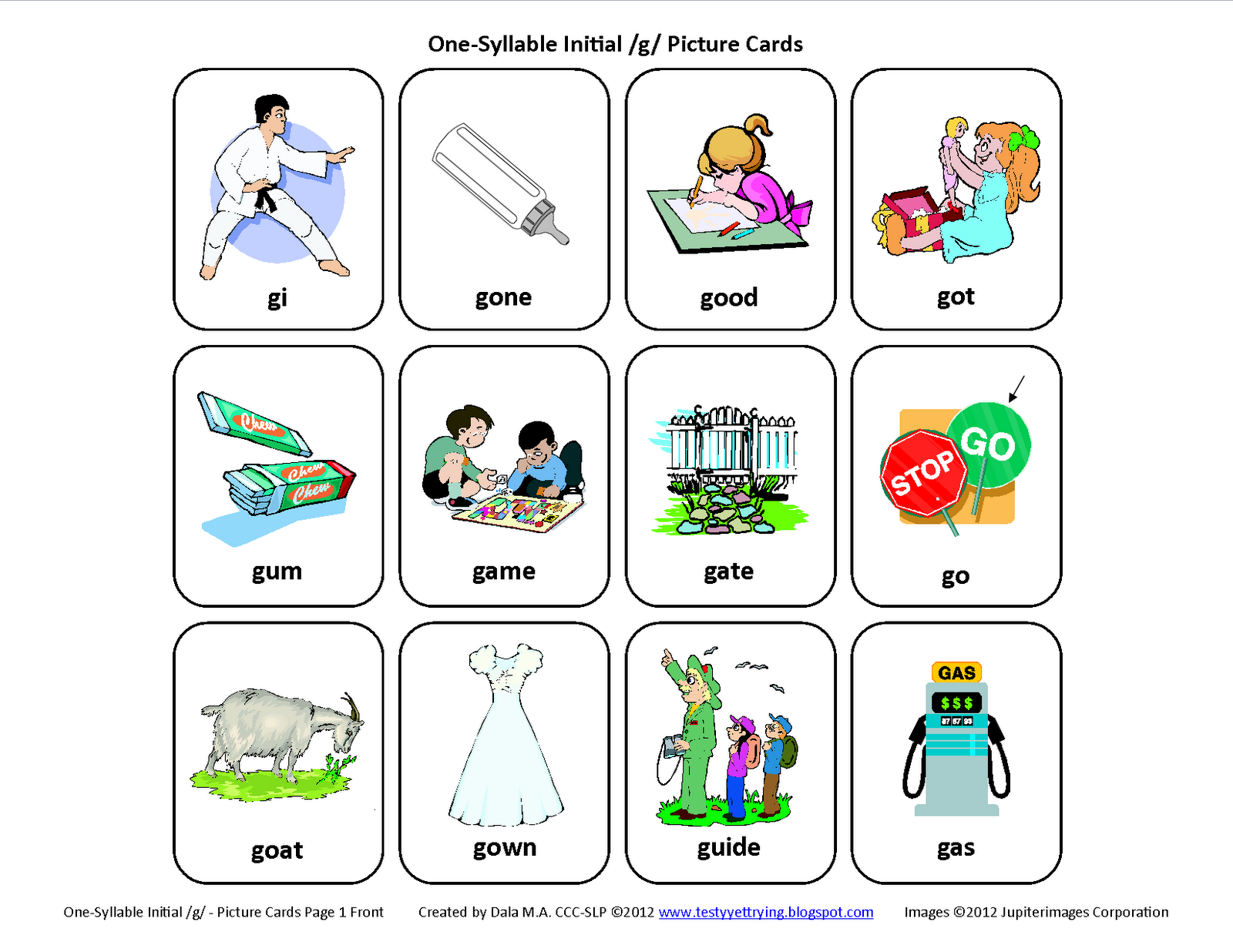 worksheet Mommy Speech Therapy Worksheets l blends bl pl fl free speech therapy articulation initial g picture cards
