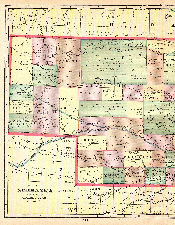 1901 Antique NEBRASKA Map Vintage State Map of Nebraska Gallery Wall ...