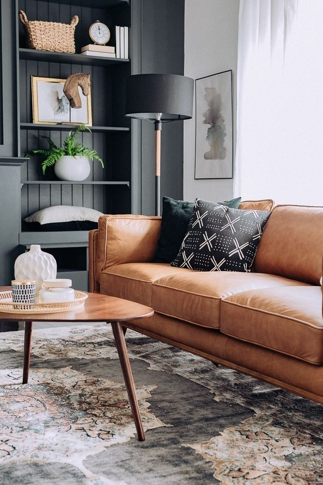 Stunning Open Plan Living Room With Delightfull Lighting Design Leather Couches Living Room Tan Living Room Black Furniture Living Room