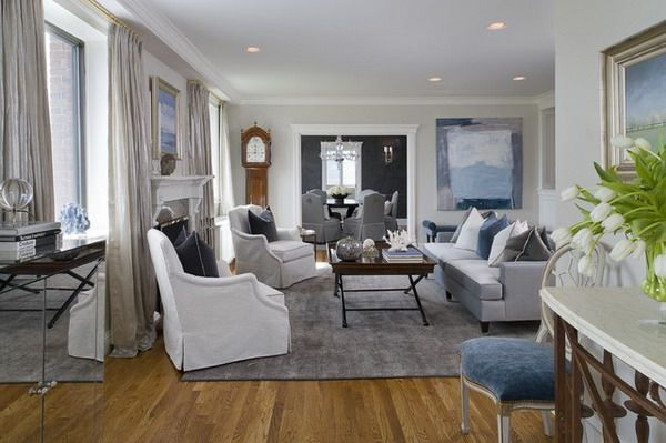 Transitional Living Room With Coastal Vibe And Blue: Grey Beige, Grey And Pale Blue